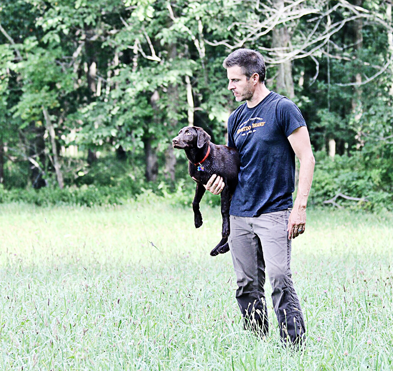 Bird dog and trainer